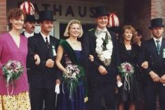 11992 Thron Thomas Volmer, Christa Haverkock (Plenter)  Ehrengefolge: Jutta Volmer (Kellermann), Bernhard Hommel (Büttelbrock) Thomas Kockentiedt, Anne Hommel